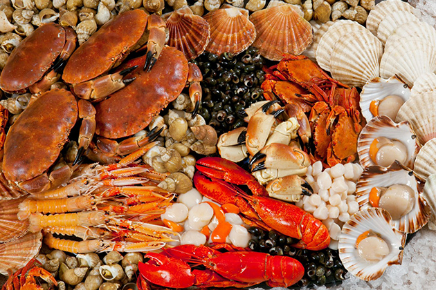 A variety of seafood in Halong