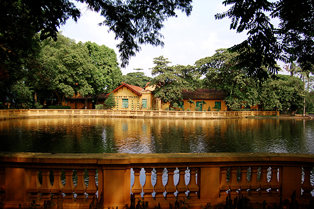 Fish pond near Ho Chi Minh stilt house