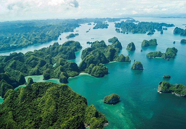 Halong Bay from above with thousands of islets