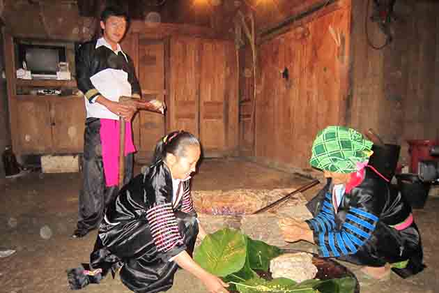 Inside the house of Nung people