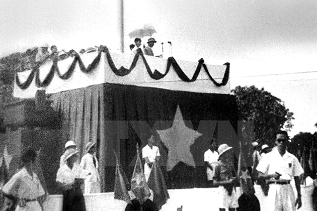 President Ho Chi Minh read the Declaration of Independence on Ba Dinh Square