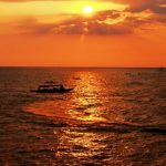 tonle sap lake at the sunset