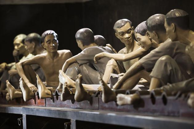 Criminal prisoners inside Hoa Lo Prison