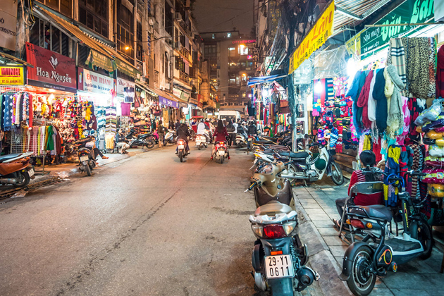 Hang Dao Street at night Hanoi Old Quarter