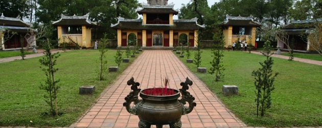 The incense burning urn on the front gate of Thien Mu Pagoda