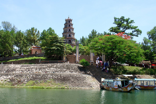 Thien Mu Pagoda - view from the perfume river