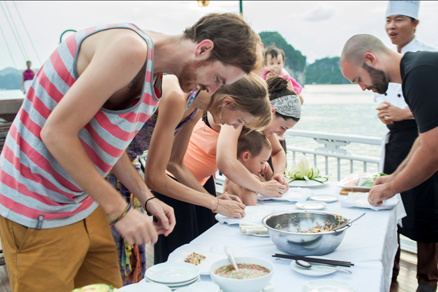 Cooking demonstration in Halong Bay