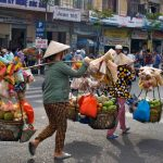 Street vendors in Saigon 19 day vietnam laos cambodia tour