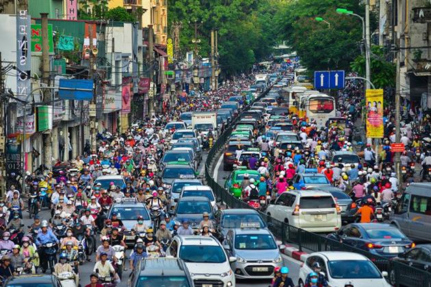 Traffic jams in Hanoi, Vietnam