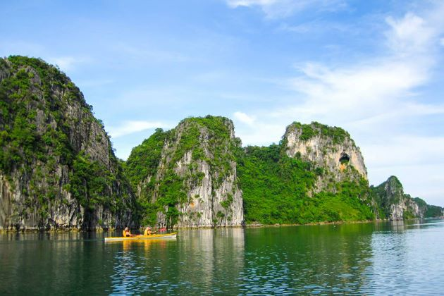 explore halong bay by kayak boats