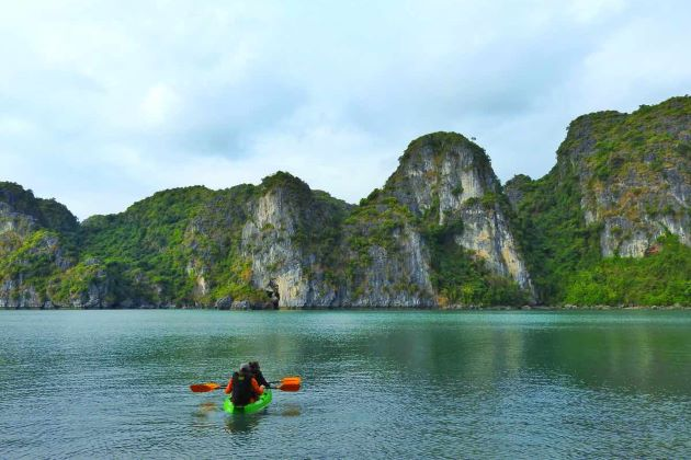 kayaking to explore halong bay indochina tour package 16 days