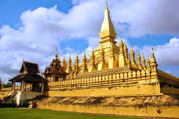visit Wat That Luang in laos vietnam cambodia itinerary