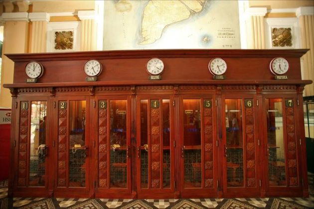 wooden phone booths in saigon post office