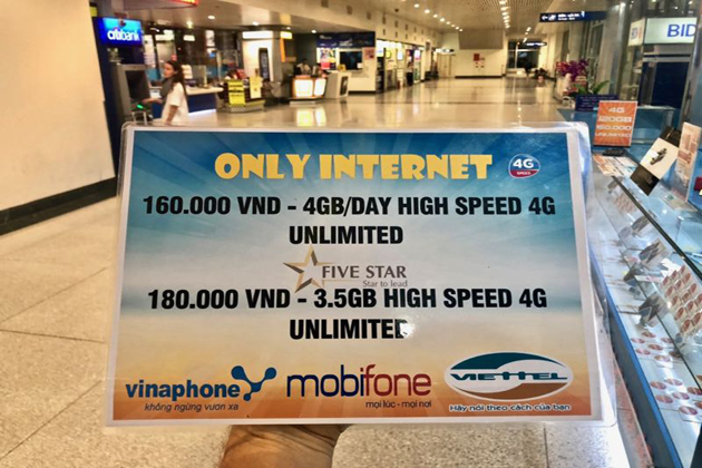 prices and data speed of Vietnam sim cards