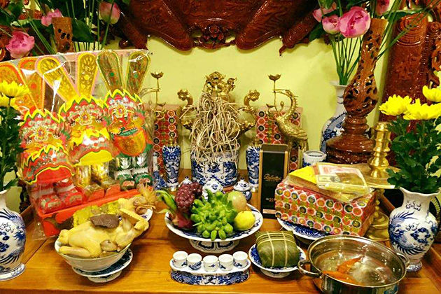 worshipping gods of kitchen tet holiday vietnam lunar new year