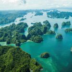 Panoramic view of Halong Bay from seaplane