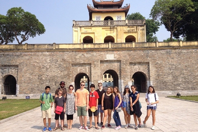 Group of students in Thang Long Imperial City