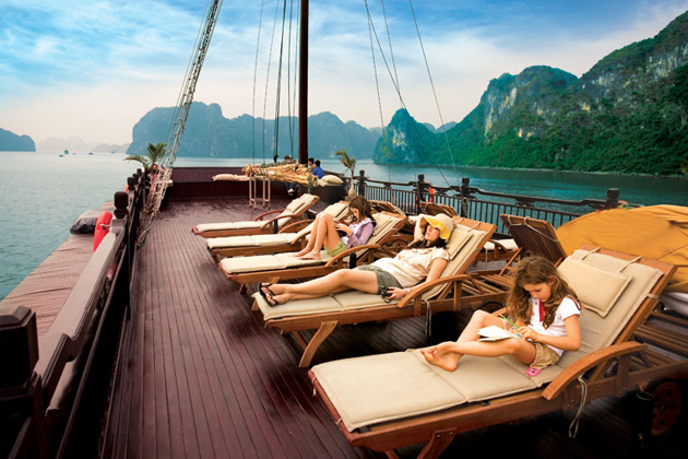 View majestic Halong Bay on luxury sundeck of Paradise cruise