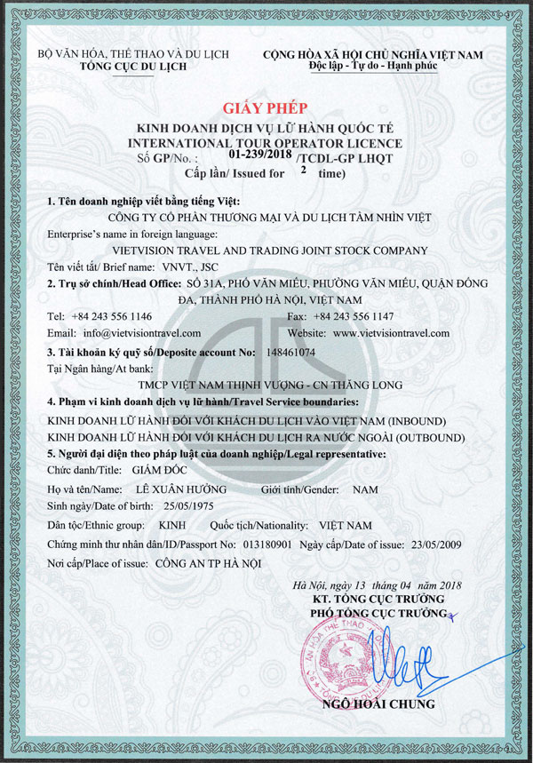 Vietnam International Tour Operator License Front Page