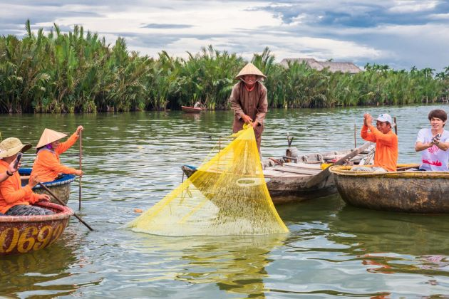 interesting vietnamese basket boat in hoi an
