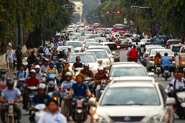 Cambodia traffic jams