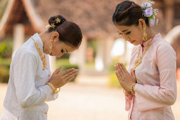 Gesture of politeness of the Cambodian