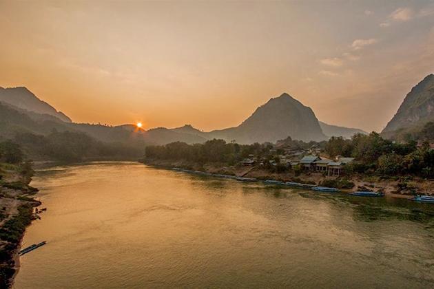 Nam Ou River at sunset