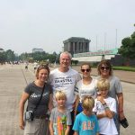 hanoi family trip at ho chi minh mausoleum