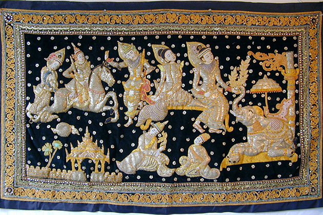 Myanmar souvenirs - Burmese Embroidered Tapestries