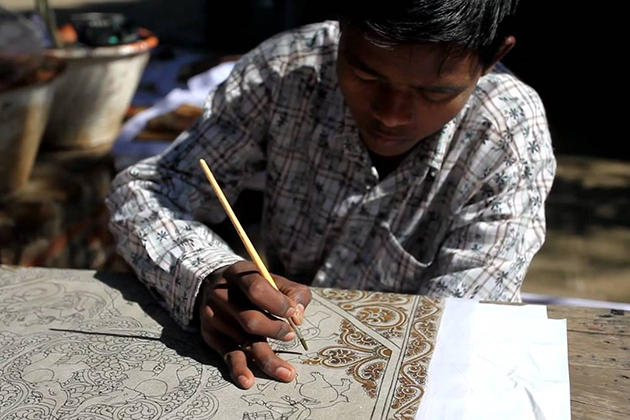 Sand painting draw in Myanmar