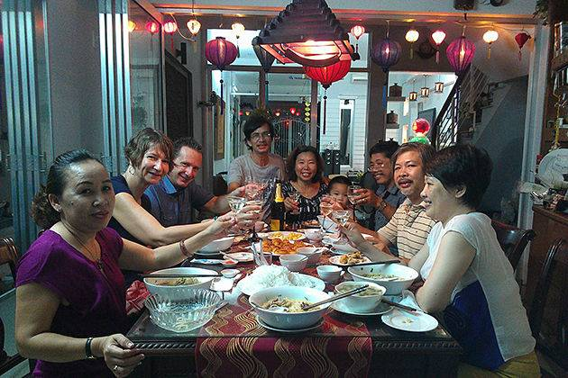 dinner with locals in hanoi Vietnam family tours