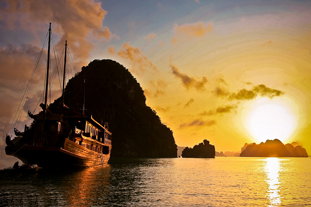 halong bay at sunset vietnam trip in 22 days