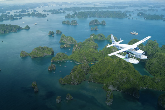 seeing halong bay from plane