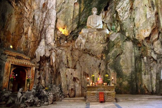 the well known marble mountain in da nang
