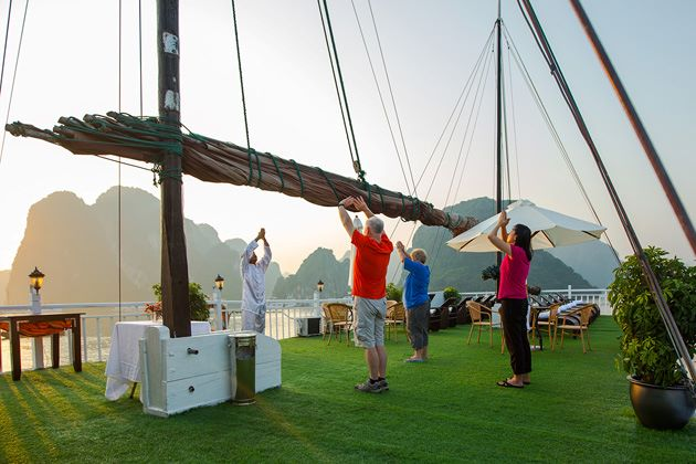 practice Morning Tai Chi in Halong Bay