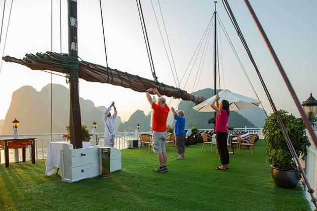 Tai Chi practice on Halong Bay Cruise during laos vietnam cambodia myanmar tour package