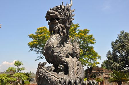 dragon statue at hue imperial city classic vietnam tours