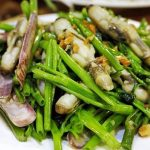Razor Clams with Vietnamese water spinach