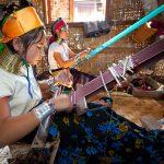 local women weaving in inle lake