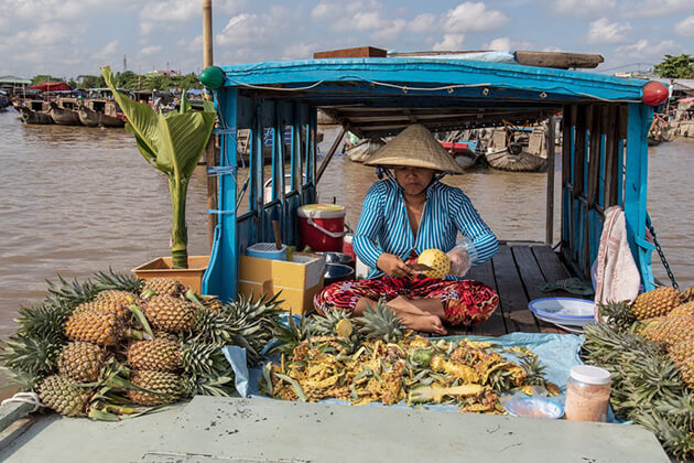pineapple at cai rang floating market