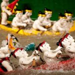 traditional water puppet show in thang long theater