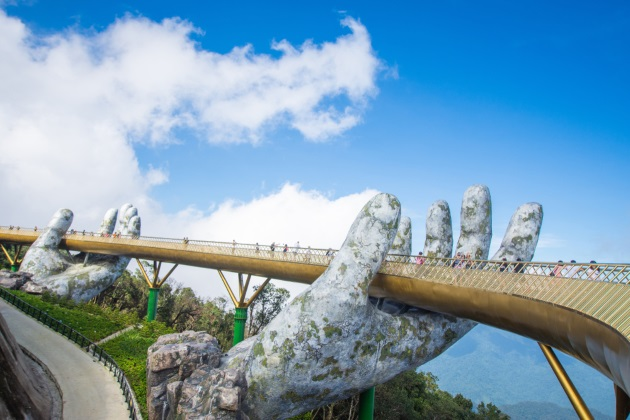 visit golden bridge at ba na hills in danang on indochina tour packages