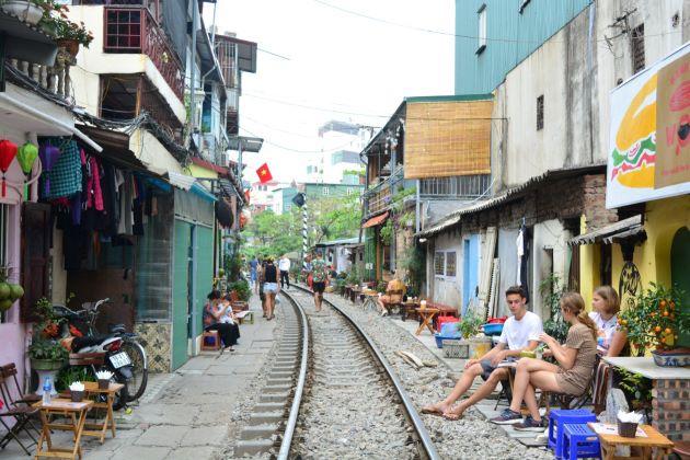 hanoi train street in tran phu street
