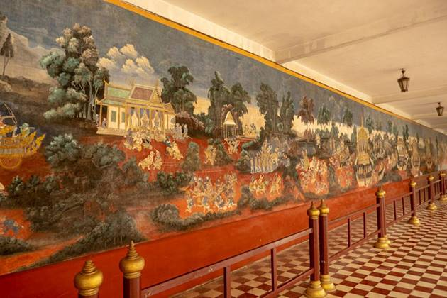 murals in the wall inside royal palace