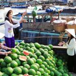 selling watermelon in cai be floating market