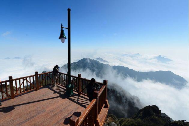 at the peak of mount Fansipan
