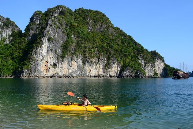 adventure tours vietnam give you a chance to explore halong bay by kayak