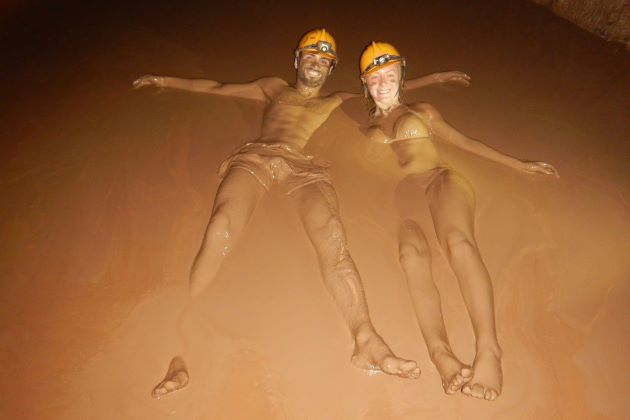 mud bath in dark cave