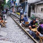 a coffee shop at hanoi train street