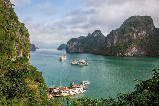 halong bay view from a limestone mountain